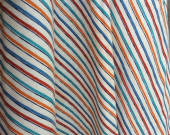 Vintage Striped Fabric - retro fabric, mid century modern fabric, quilting fabric, cotton material, quilters weight, diagonal stripe fabric