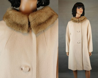 Vintage Swing Coat XL Mink Collar Beige Brown Soft Cashmere Wool Winter Jacket Free US Shipping