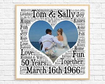 PERSONALIZED 50th ANNIVERSARY Gift ~ Word Art ~ 50 Year Anniversary ~ Unique Anniversary gift ~50 Year Wedding Anniversary Gift~Unique Gift