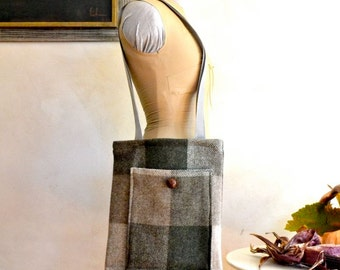 Wool Fringed Shoulder Bag Olive & Gray Buffalo Plaid Lined Tote / Purse