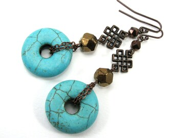 Asian inspired turquoise and antique copper dangle earring