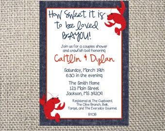 PRINTED or DIGITAL | Crawfish Boil Crawdad | Couples Wedding Shower Invitation | Invites | How Sweet Southern | Custom Invitations .82 each