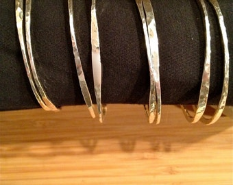 Hand hammered sterling silver stackable bangles