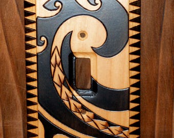 Polynesian tattoo switchplate - single toggle wood switch cover