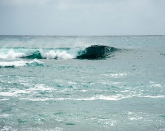 Hawaii - Cresting II - Ocean Wave - Nature photo - waterscape -  luminous jewel tones - Fine art photography - minimalist - 8x12, 24x36