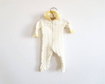 Vintage Yellow and White Knit Sleeper