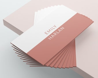 White and Pink Business Card Design, Business Card Template, Premade Business Card, Printable Business Card, Coral Pink, Rose Gold, Blush