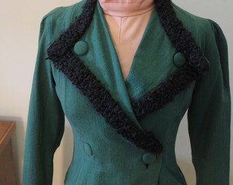 Vintage 40s Green Fitted Jacket