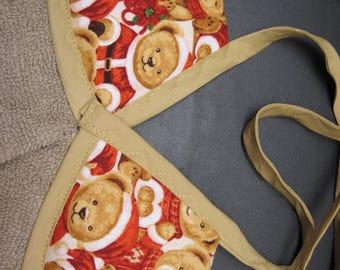 2 Teddy bear  Santa tie on kitchen towels