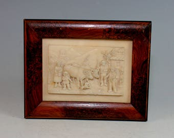 Antique French Stone carving in Wood Frame