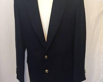 Vintage Johnny Carson for KG Men's Store Navy Blue Blazer Jacket Sport Coat with Brass Buttons 40R Medium M
