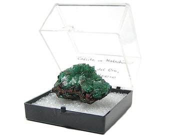 Malachite emerald green crystalline druzy under brilliant Calcite Mexican Mineral Specimen from an estate collection in museum display box