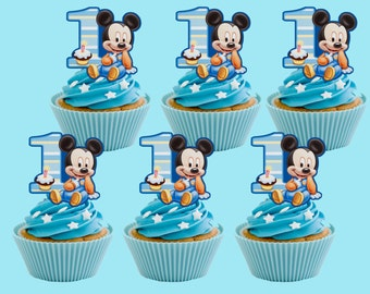 Baby Mickey Mouse Cupcake Toppers, Cupcake Pick PRINTABLE, You Print