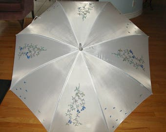 Silk Umbrella White,Hand Painted Brolly,Blue Flowers Brolly,Sun Proof Umbrella,Rain Proof Umbrella,Floral Motif,Ladies Umbrella,Large Brolly