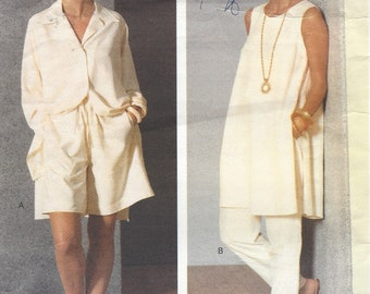 90s Betty Jackson Womens Tunic, Shirt, Shorts & Pants Vogue Designer Original Pattern 2710 Size 6 8 10 Bust 30 1/2 to 32 1/2