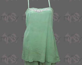 Gorgeous 1920s Camisole and Tap Pants French Knickers Lingerie Set In A Rare Jade Arsenic Green Colour with Art Deco Lace Details