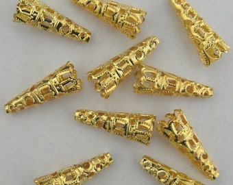 8 Bead Caps Gold Plated Cone 12mm