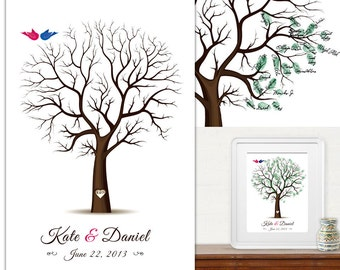 20% OFF Sale - PDF Wedding Tree Guest Book - Fingerprint -  PDF FIle - any size