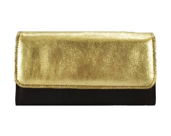 Amelia Wallet in Gold Metallic Leather