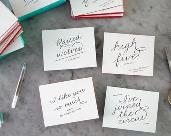 Variety Show Letterpress Postcards with Edge Painting — Circus, High Five, Post Office, Wolves