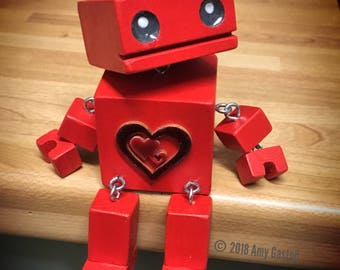 "5"" LoveBot- The Little Wooden Robot by Tiggymus & Co."