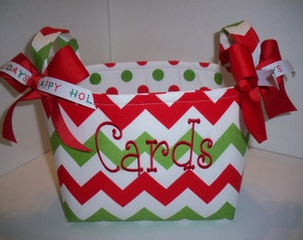 Red Green White Christmas Chevron Polka Dot Fabric Basket / Organizer Bin / Gift Bag- Personalization Available
