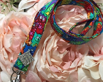 Crazy Cat Sparkle Lanyard~Keys, Badges, ID Holder
