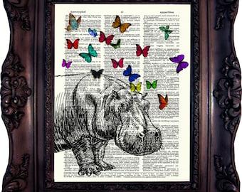 Hippo Print on book page Hippo Art print Hippopotamus Art Print Girlfriend gift Boyfriend gift Best friend gift Mom gift Sister Code:505