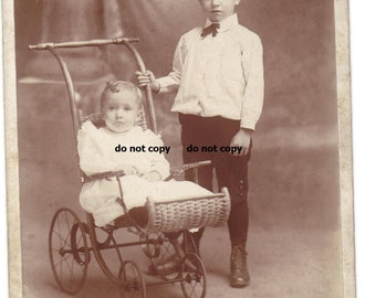 big brother and sweet toddler girl,  cabinet card photo, antique photograph, vintage photography, wicker stroller