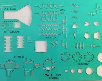 Vintage Linex Stencils for Electric Circuits Electrical Engineering 1980s Denmark