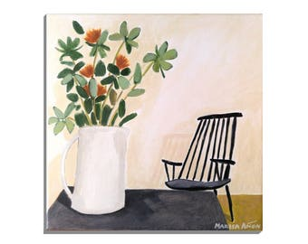 Flowers and a Chair, Original Small Painting, Acrylic on Canvas, Still Life Art