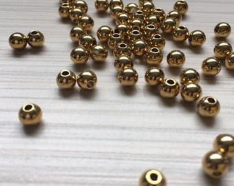 5pcs spacer stainless steel 304 gold plated 5 mm