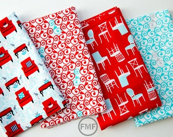 Perfectly Perched in Red Half Yard Bundle, 4 Pieces, Laurie Wisbrun, 100% Cotton, Robert Kaufman Fabrics, AWN