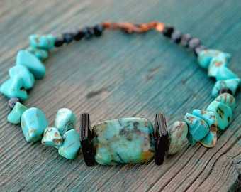 African Turquoise, Howlite, and Obsidian Bracelet