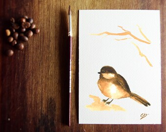 """Sparrow PRINT - 5x7"""" in - watercolor coffee - tiny print - wall art - sparrow paint - bird artwork - sparrow print - mother's day"""