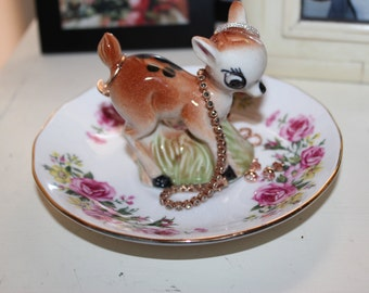 OOAK Vintage Animated Baby Deer Colorful Garden Retro Ring Dish