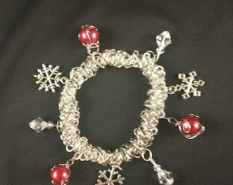 Winter Charm Bracelet - stretchy elastic and silvertone snowflakes