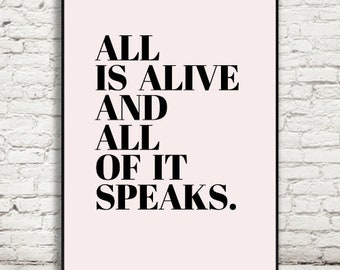 Alive Inspirational Quote, Black Dusty Pink Print, Wall Art, Modern Minimalist, Nordic Decor, Romantic, Poster, Printable Download