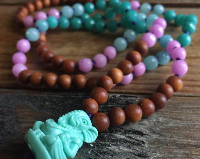 Sandalwood, Jade + Teal Ganesha Mini Mala | 108 Bead | 6 mm | Partially Handknotted | Spiritual Junkies | Yoga + Meditation