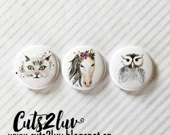 "3 buttons 1 ""2 animal friends"