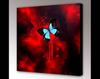 Blue Butterfly Original Painting | Gothic Home Decor | Butterfly Decor | Gothic Decor | Red Abstract | Large Wall Art | Butterly Wall Art