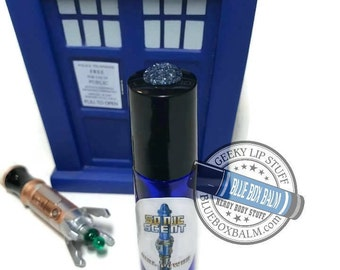 "Sonic Scent - FLOWER POWER - ""Jo Grant"" Doctor Who Inspired Body Scent - A complex Plumeria & Citrus Fragrance in a Blue Glass Roller Bottle"