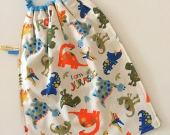 Elastic towel cotton and sponge pattern dinosaur bibs