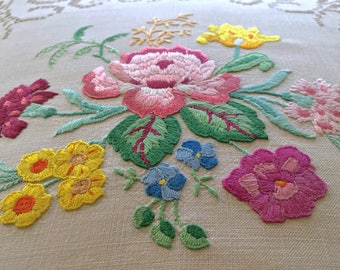 Beautiful Hand Embroidered Vintage Floral Cushion Cover