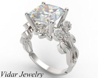 Diamond Engagement Ring,Princess Cut Engagement Ring,Unique Engagement Ring,Diamond Engagement Ring,14k White Gold Engagement Ring,Custom