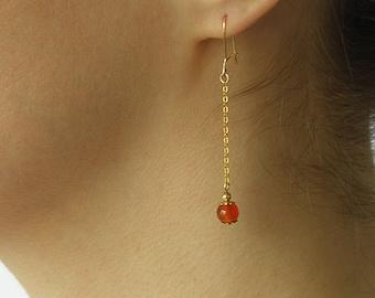 Carnelian Gold Earrings, Minimalist Delicate Earrings, Dainty Gemstone Earrings, Orange Gemstone drop earrings, gift for her