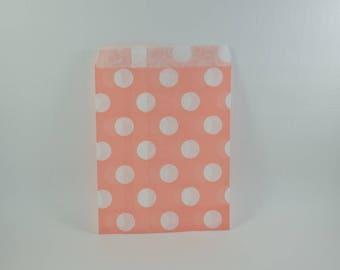 8 salmon dot pattern paper bags
