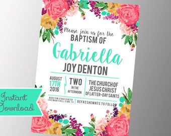 Girls LDS Baptism Invitation - Photo announcement Floral - Baptism Invitation - Printable Download
