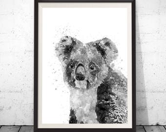 Koala Print, Koala printable, Animal Portrait, Nursery Animal Print, Nursery Decor, Gift for kids, Australian Animal Wall Art, Digital Print