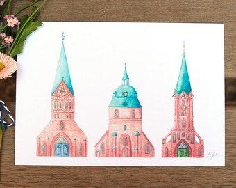 Postcard-Lüneburg Churches